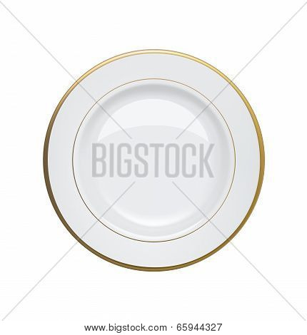 White Plate With Gold Rims On White Background. Vector Illustration
