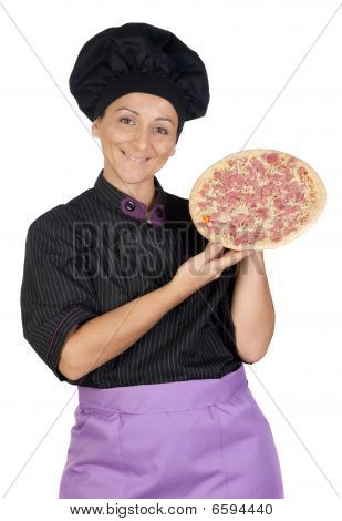 Pretty Cook Woman With Ham Pizza