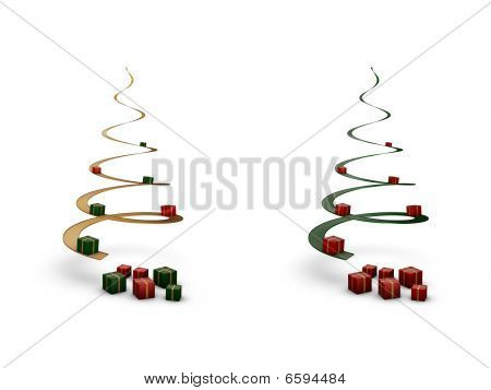 Spiral Christmas Trees With Giftboxes