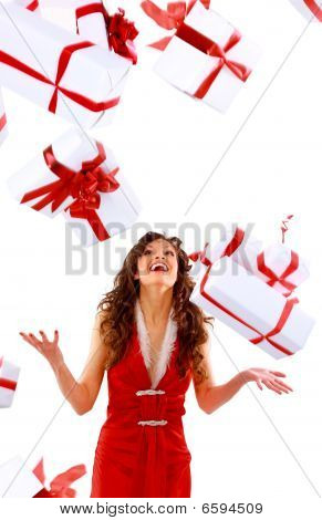 Excited attractive woman