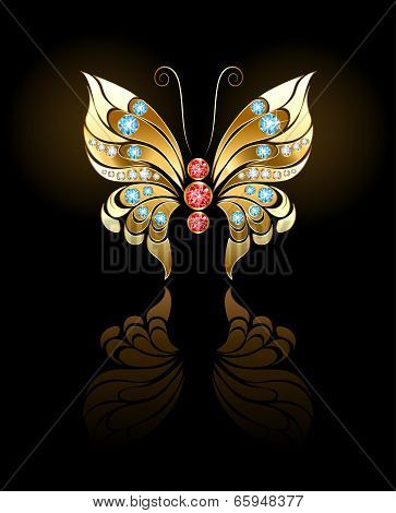 Gold Butterfly With Gems