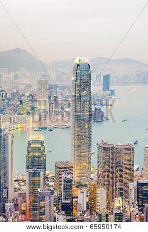 Panoramic Skyline Of Hong Kong City From The Peak