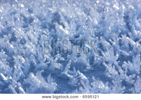 Frost, blue hues, macro close up