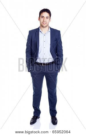 Full body portrait of a handsome business man, isolated on white background