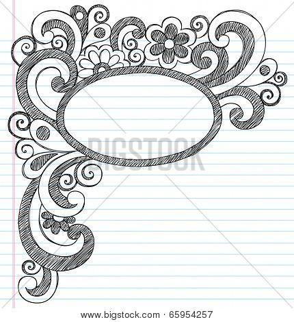Oval Picture Frame Border Back to School Sketchy Notebook Doodles- Illustration Design Element on Lined Sketchbook Paper Background