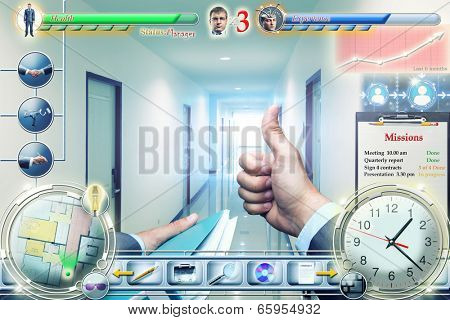 Businessman in video game