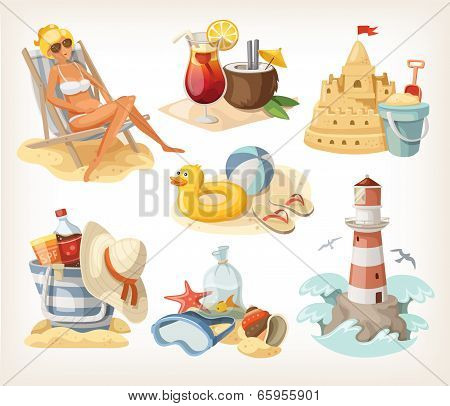 Set Of Summer Beach Elements