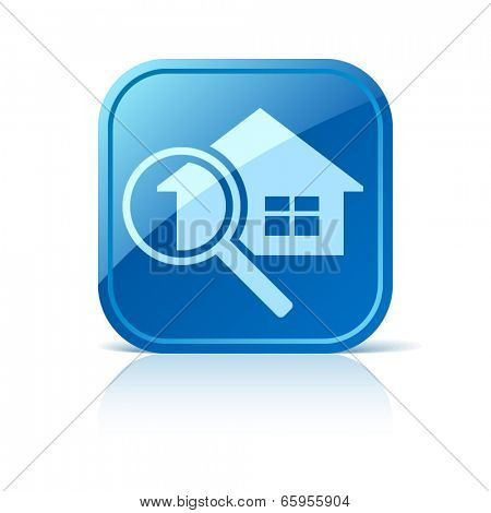 House and magnifier icon on blue web button