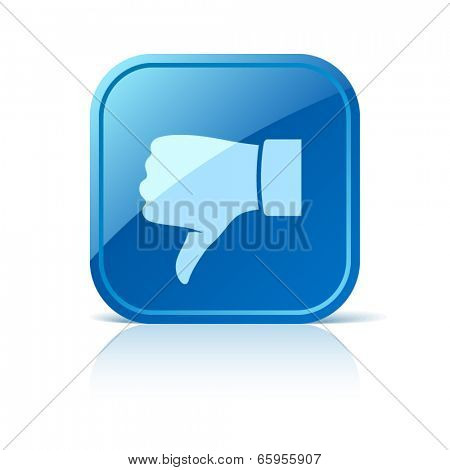 Thumb down icon on blue web button