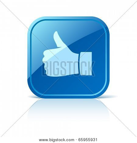 Thumb up icon on blue web button