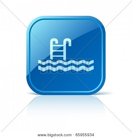Pool icon on blue web button