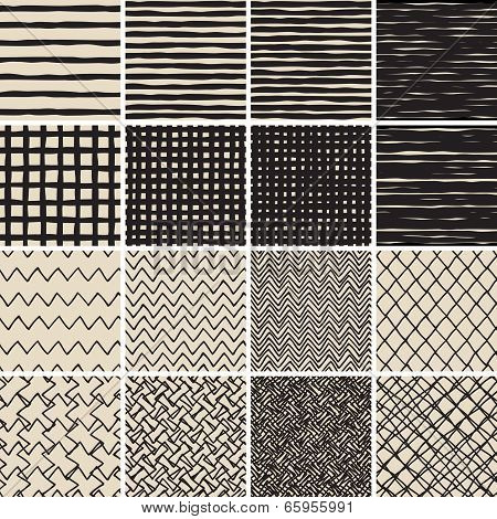 Basic Doodle Seamless Pattern Set No.2 In Black And White