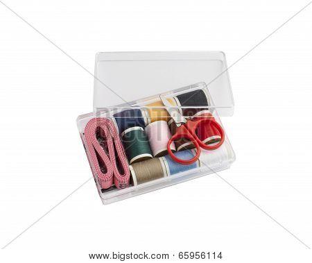 mini sewing set in plastic box