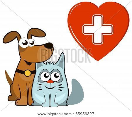 dog and cat with medical heart and cross
