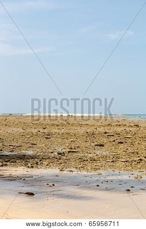 Low Tide On A Sandy Beach With Blue Sky