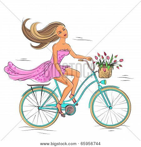 Girl on the bike isolated on white