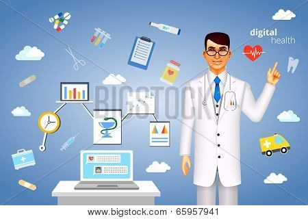 Digital health concept with medical icons