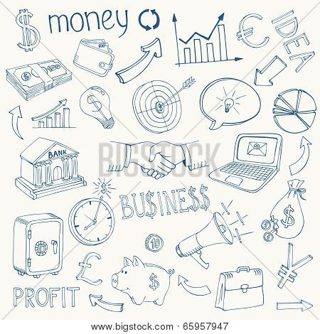 Set of vector business and money icons
