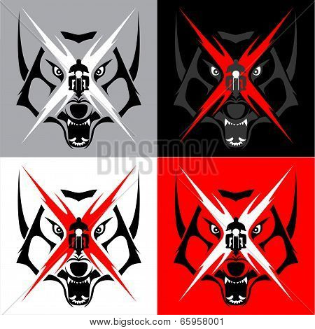 Tribal Wolf Emblem Tattoo for Big Motorcycle Biker