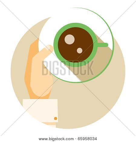 Coffee cup circular icon