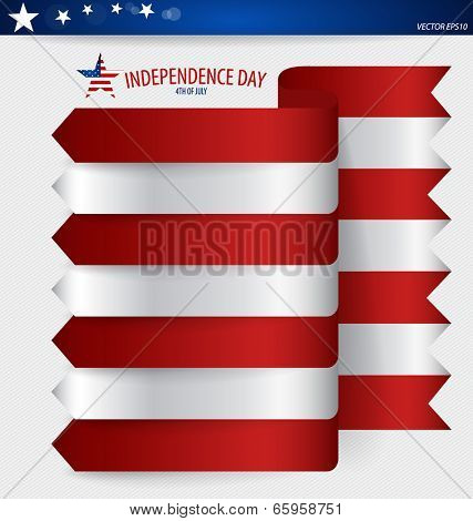 Happy independence day card United States of America. Ribbon design, vector illustration.
