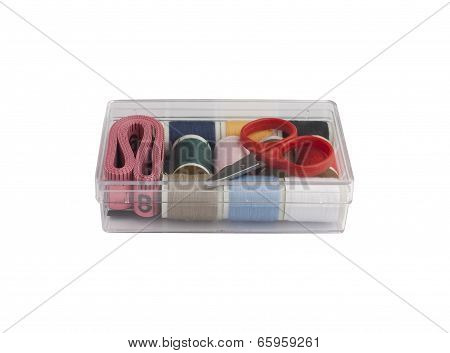 Set of sewing in the plastic box