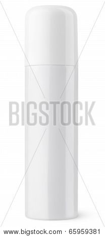 Closed White Aerosol Spray Metal Bottle Can