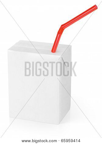 Milk Or Juice Carton Packag With Red Straw
