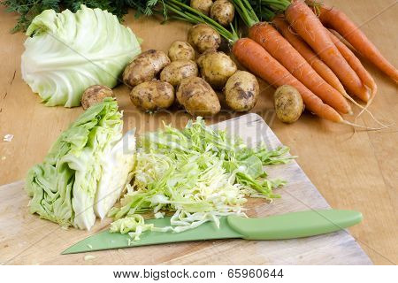 Raw Vegetable Of Cabbage, Carrot And Potatoes