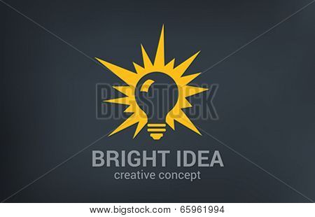 Creative bright new idea vector logo design. Light bulb shine. Think, research, solution, imagin