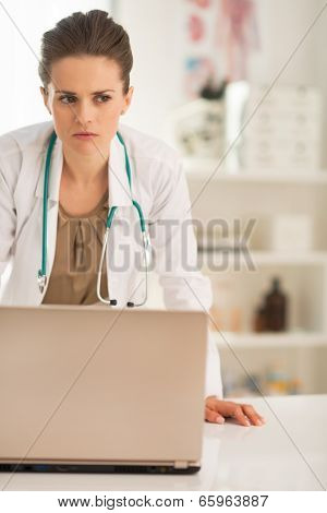 Portrait Of Concerned Medical Doctor Woman With Laptop In Office