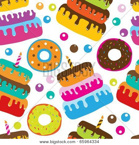 Seamless pattern with cupcakes, cakes with candle and donuts. Good for birthday background or card design