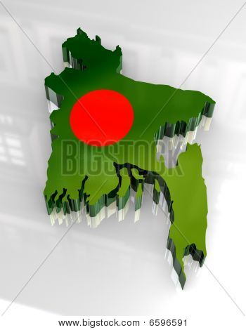 3d golden map of bangladesh