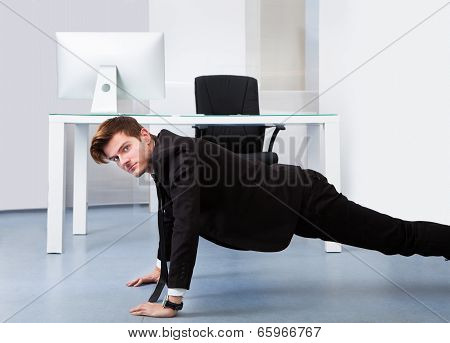 Businessman Doing Pushups