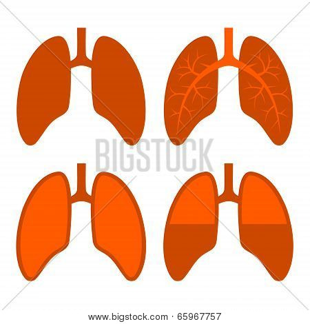 Human Lung Icons Set