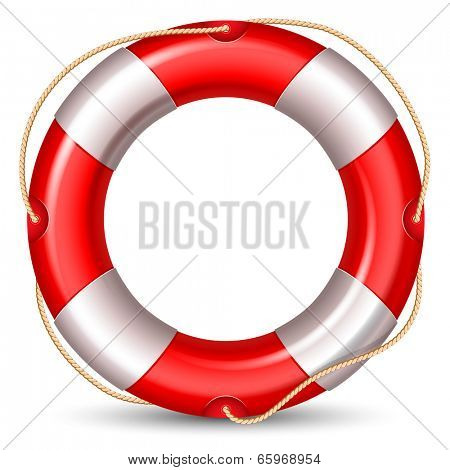 Red lifebuoy isolated on white background. High detailed vector.