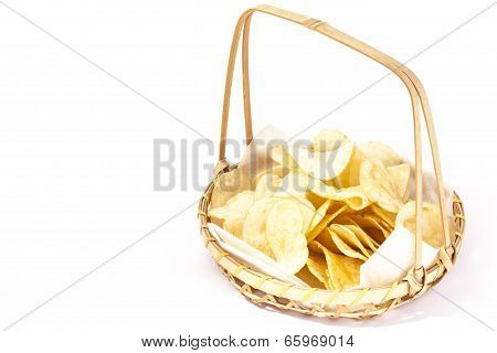 Bamboo Basket To Put The Potato Chips