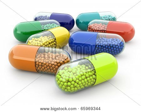 Pills and drugs on white isolated bacground. Medical concept. 3d