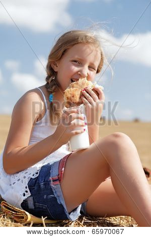 A Pretty Young Girl Eating
