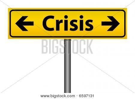 Yellow Crisis Direction Sign Isolation Illustration