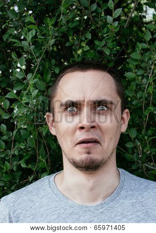 Terrified man staring aghast at the camera with wide fearful eyes and a penetrating stare against a background of green leaves
