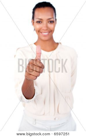 Beautiful Businesswoman With Thumb Up