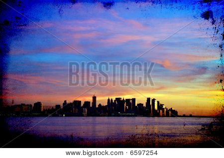 New York Cityscape Skyline At Night, Nyc, Usa