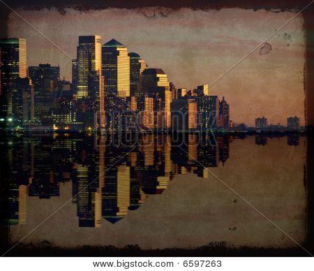 New York Cityscape Skyline At Night, Nyc, Usa