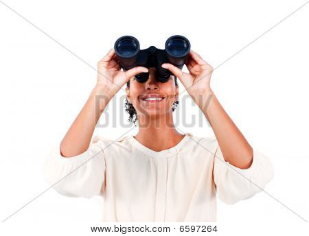 Visionary Businesswoman Looking Through Binoculars