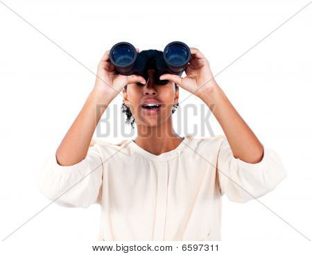 Surprised Businesswoman Looking Through Binoculars