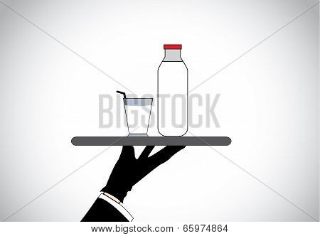 Professional Well Dressed Waiter Hand Present Fresh Healthy Organic Milk Glass And Bottle.