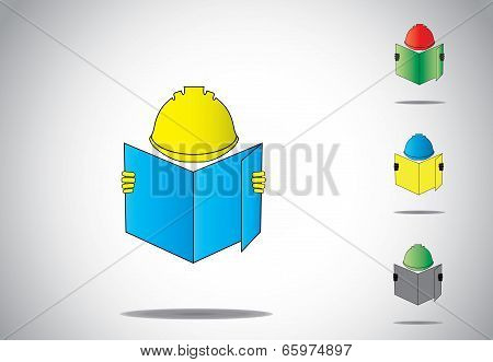 Professional Construction Worker Man Holding Blueprint Of House Home Plan Set.