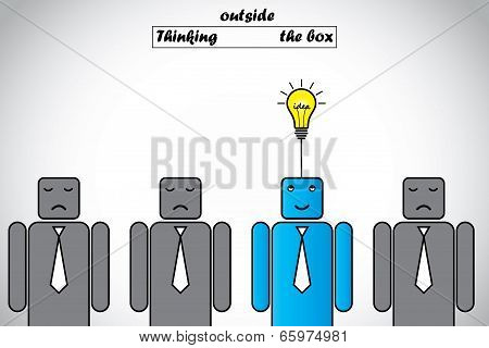 Happy Professional Thinking Outside The Box Gets Lightbulb Idea. Blue Alert Smart Professional Think