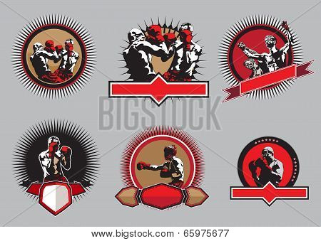Set Of Boxing Icons Or Emblems